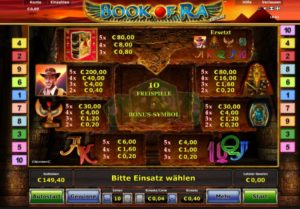 Gewinntabelle Book of Ra