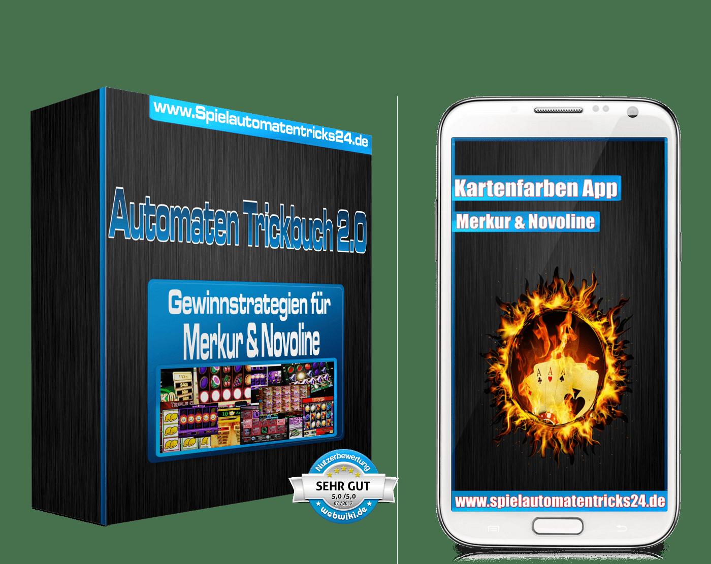 Kartenfarben App und Spielautomaten Trickbuch
